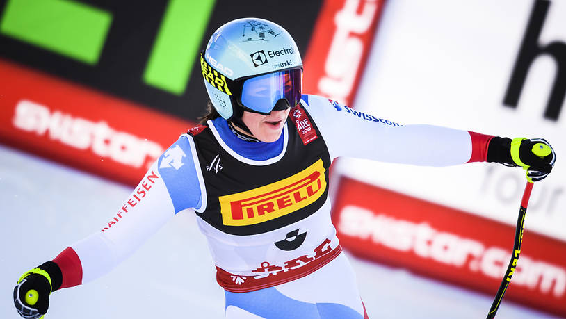 Wendy Holdener nach ihrer Super-G-Fahrt in Are