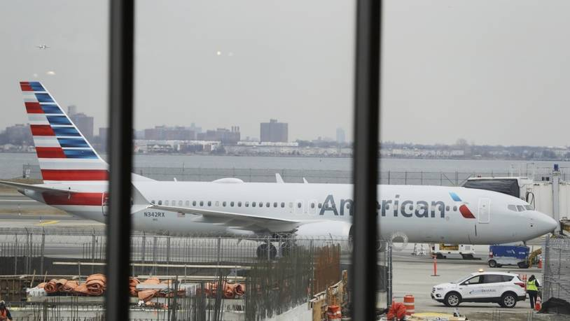 Am Boden: Eine Boeing 737 MAX 8 von American Airlines am LaGuardia Airport in New York.