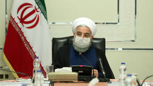 HANDOUT - Präsident Hassan Ruhani während einer Sitzung des Nationalen Komitees zur Bekämpfung des Coronavirus. Foto: -/Iranian Presidency/dpa - ATTENTION: editorial use only and only if the credit mentioned above is referenced in full
