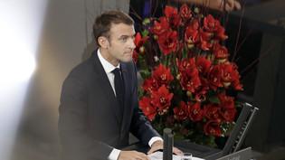 Der französische Präsident Macron spricht zum ersten Mal im Deutschen Bundestag in Berlin.