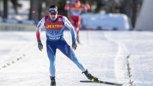 Dario Cologna im Finish.