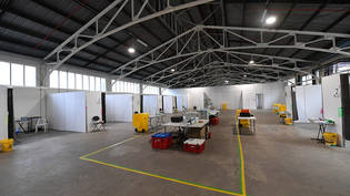 General view of facilities at the St Johns Ambulance Victoria pop up Hospital at the Melbourne Showgrounds in Melbourne, Tuesday, July 7, 2020. St Johns Ambulance   Victoria has setup a treatment facility at the Melbourne Showgrounds in anticipation of…